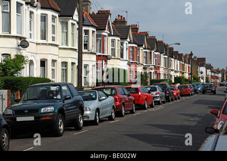 Typical English terraced houses, Undine Street, Tooting Broadway, London, England, Europe - Stock Photo