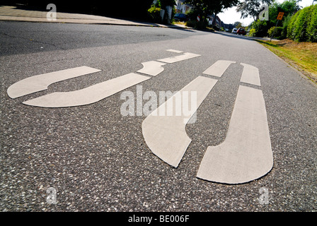 30 km/h restriction zone marking on a street - Stock Photo