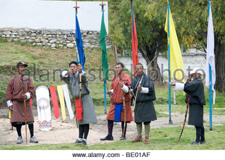 Archery Competition In Paro Bhutan Using Traditional Bows - Stock Photo