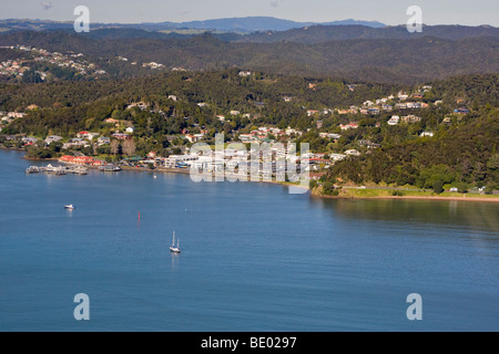 Aerial view of the town of Paihia, Northland, Bay of Islands, New Zealand - Stock Photo