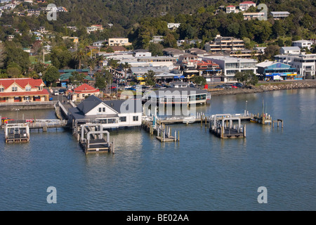 Aerial view of the waterfront of Paihia, Bay of Islands, New Zealand - Stock Photo