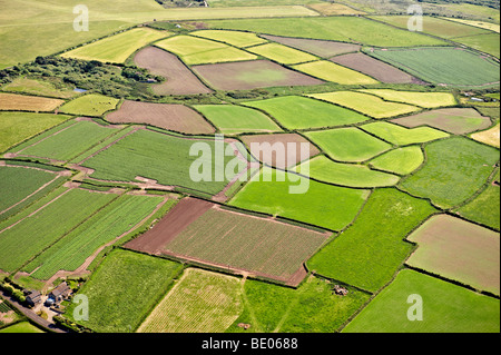 English agricultural fields Aerial view - Stock Photo
