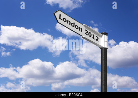 Signpost indicating London 2012 the place and date of the next Olympic games. - Stock Photo