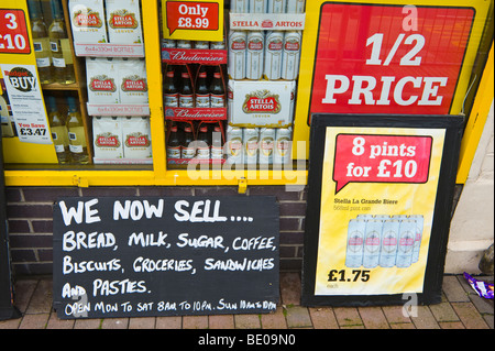 Superb Cheap Booze Advertising Outside Local Shop In Neath South Wales UK   Stock  Photo