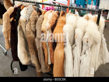 Fur coats for sale in a market in Helsinki, Finland Stock Photo ...