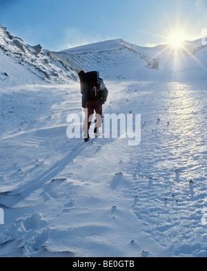 Eliot Glacier, Mount Hood, Oregon, USA; Climber hiking towards setting sun - Stock Photo