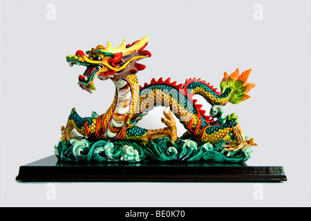 Chinese dragon, porcelain figurine, souvenir item, Hong Kong, China, Asia - Stock Photo