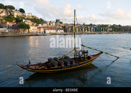 Typical Rabelo boat on the Douro river, Porto, Portugal, Europe - Stock Photo
