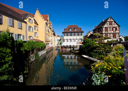 Historic centre with restaurants, Colmar, Alsace, France, Europe - Stock Photo