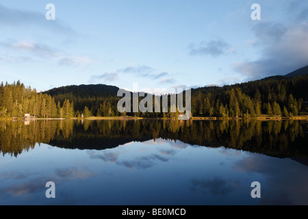 Prebersee Lake in the morning, Lungau, Salzburg state, Austria, Europe - Stock Photo