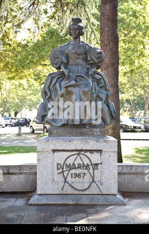 Queen Dona Maria II statue in Queen Dona Maria II Square. Vila Nova de Famalicão, Braga District, Portugal - Stock Photo