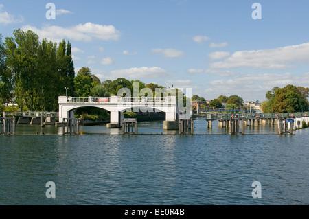 The Weir At Teddington Lock On The River Thames England - Stock Photo