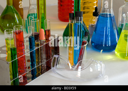 collection of Laboratory Equipment including beakers,flasks and test tubes - Stock Photo