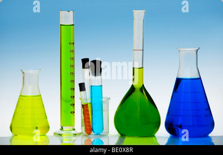 collection of Laboratory Equipment including beakers and flasks - Stock Photo
