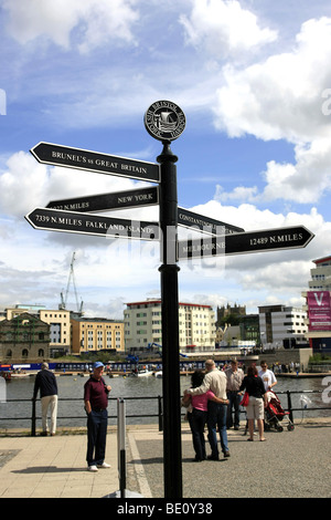 International distance signpost to places around the World from Wapping Wharf Bristol City England - Stock Photo