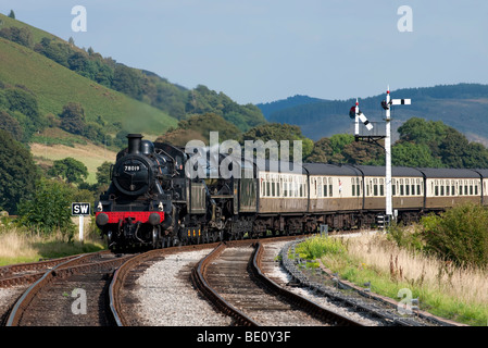 Steam Locomotive 78019 approaches Carrog Station at the end of it's journey from Llangollen on the Llangollen Steam - Stock Photo