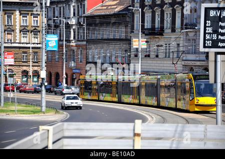 Eastern Europe, Hungary, Budapest, Tram - Stock Photo