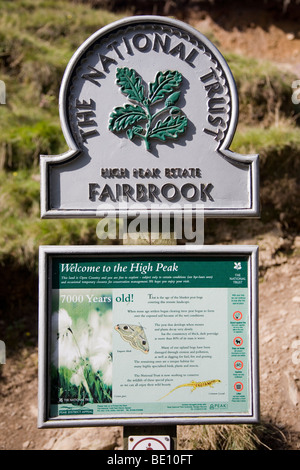 National Trust sign at Fairbrook in the High Peak Estate which is part of The Peak District National Park derbyshire - Stock Photo