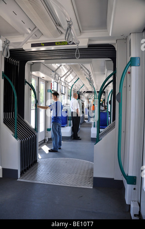 Eastern Europe, Hungary, Budapest, Interior of a Tram - Stock Photo