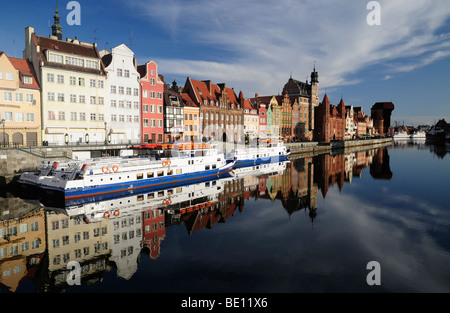 Gdansk waterfront, Motlava river, Poland - Stock Photo