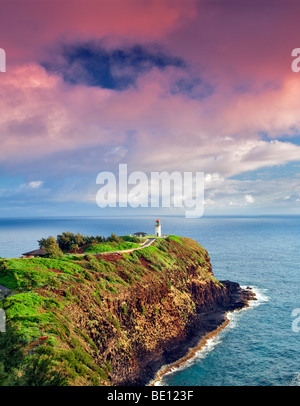 Kilauea Lighthouse. Kilauea Point National Wildlife Refuge, Kauai, Hawaii. - Stock Photo