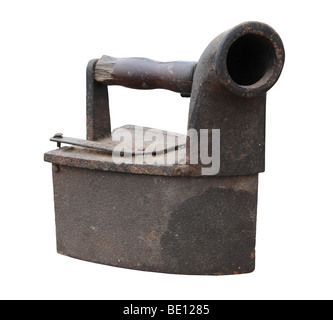 Vintage iron isolated over white background - Stock Photo