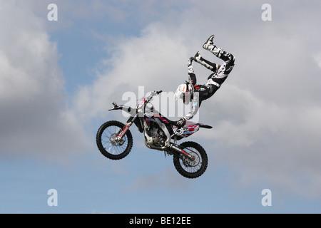 Motor cycle stunt display Romsey Show Hampshire UK 2009 - Stock Photo
