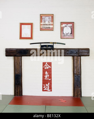 The shomen, or front wall of the dojo. Also the Kamiza or seat of the gods. A wooden structure with a Japanese feel. - Stock Photo