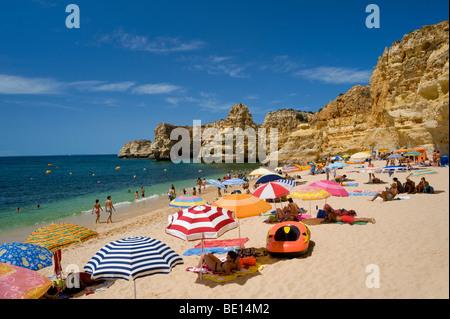 Portugal, the Algarve, Armacao de Pera, Praia da Marinha - Stock Photo