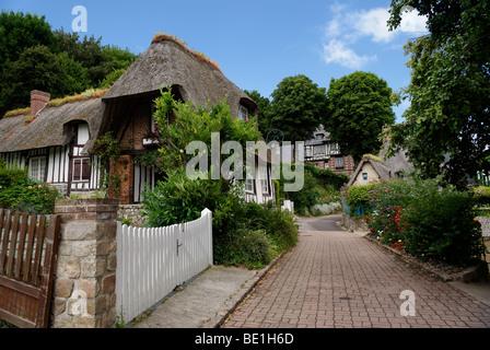 little street in veules les roses France - Stock Photo