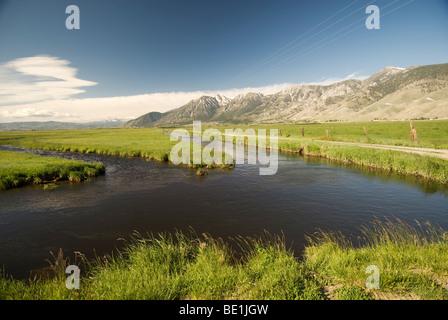 Stream in Carson Valley near Carson City Nevada - Stock Photo