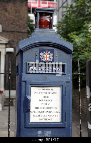 police public call post on aldgate high street london uk - Stock Photo