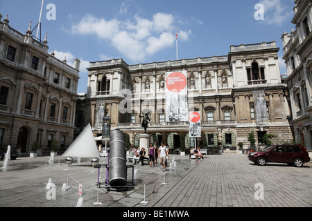 view of the courtyard within burlington house towards the academy of arts piccadilly london uk - Stock Photo