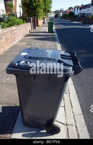 Waste management two waste recycle bins stand ready for collection stock photo royalty free - Rd rubbish bin ...