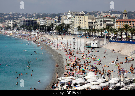 view of the beach and promenade des anglais nice south of france - Stock Photo