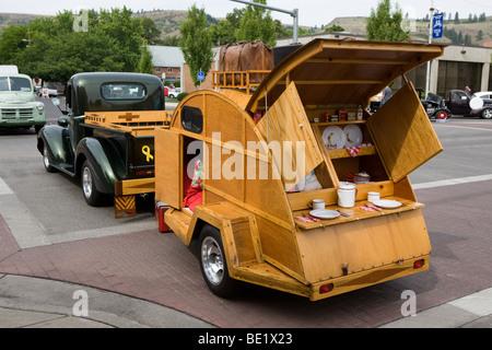 Antique camper at a car show in La Grande Oregon - Stock Photo