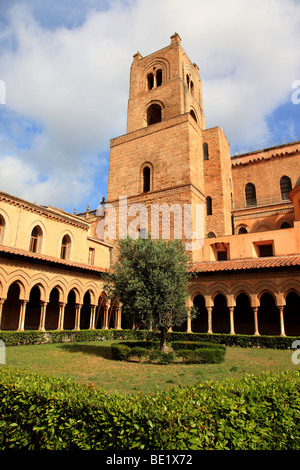 Cloisters of Monreale Cathedral in Sicily Italy - Stock Photo