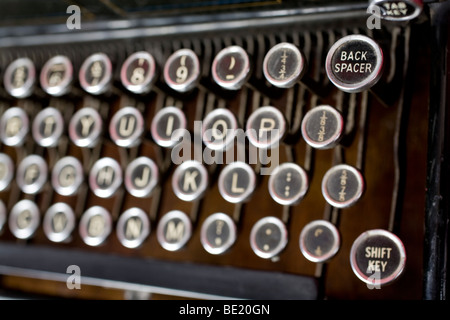 Keys on a very old typewriter - 1900s to 1920. Focus is purely on the Back Spacer key. - Stock Photo