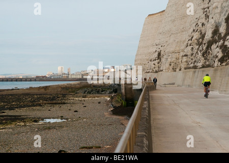 Brighton skyline, marina and white cliffs viewed from the east along cycle track - Stock Photo