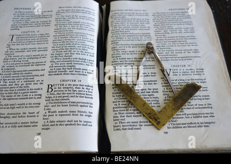 Masonic Symbol Of A Set Square And Pair Of Compasses On An Open