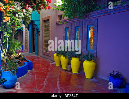 A view of the old studio of Jacques Majorelle, now the Museum and boutique at Jardin Majorelle in Marrakech - Stock Photo