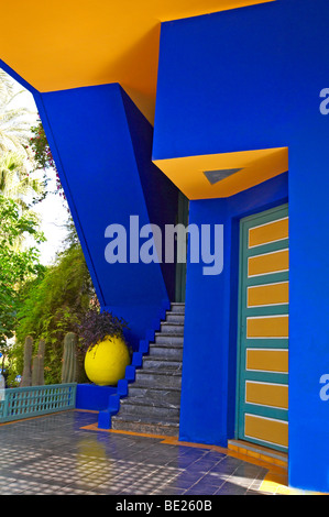The graphic detail of the old studio of Jacques Majorelle in the Jardin Majorelle - Stock Photo