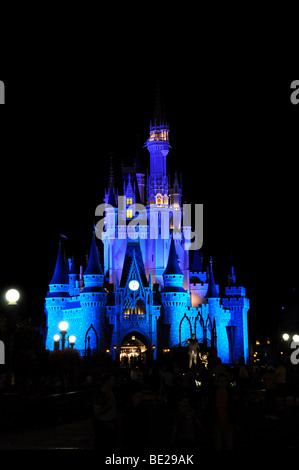 CINDERELLA'S CASTLE AT WALT DISNEY WORLD - APRIL 11: Cinderella's Castle at night. Disney World in Orlando, Florida, - Stock Photo