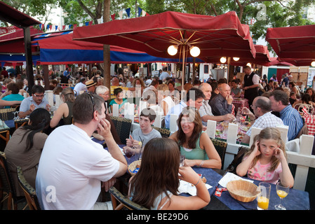 An evening scene in the restaurant area of Montmartre, Paris, France - Stock Photo