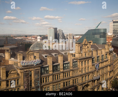 Manchester England UK Looking across the city skyline from capsule of the MEN Wheel in Exchange Square - Stock Photo