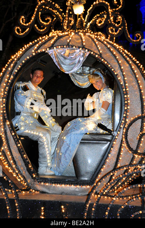 PARADE OF LIGHTS AT WALT DISNEY WORLD - APRIL 11: Cinderella and prince at the Magic Kingdom Parade of Lights. Disney - Stock Photo