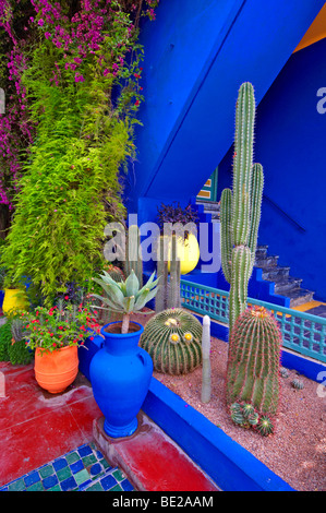 A detail of the old studio of Jacques Majorelle, now the Museum at Jardin Majorelle in Marrakech with cactus and - Stock Photo