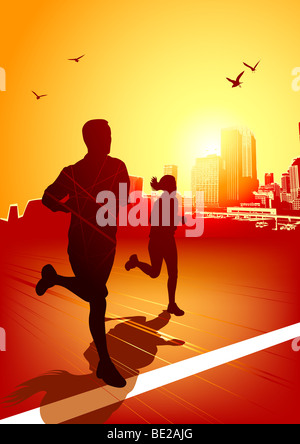 A man and women running on a sunny evening with the city in the background. - Stock Photo