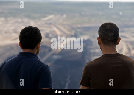 Tourists overlooking an open cast coal mine, Western Germany - Stock Photo