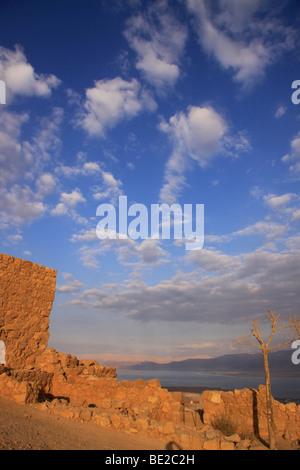 Israel, Judean desert, a view towards the Dead Sea from Masada - Stock Photo